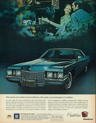 1972 Cadillac 2 Door Vintage Original Laminated Ad Art