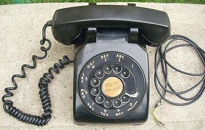 """Bell System Western Electric Rotary """"METAL"""" Dial Telephone Black Desk Phone"""