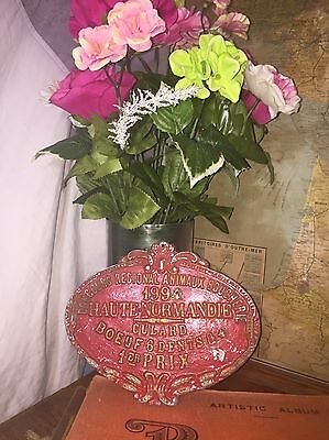 French Animal Slaughter 1st Place Award Plaque//Antique//Vintage