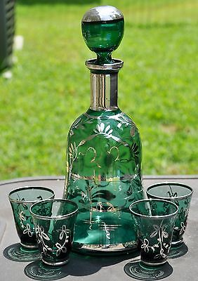 Antique Blue Green Glass Decanter & 4 Cordial Cups Sterling Silver Overlay