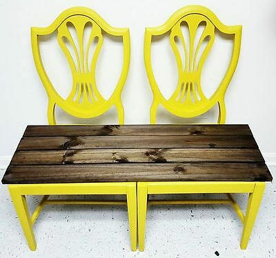 Upcycled bright yellow vintage chair bench