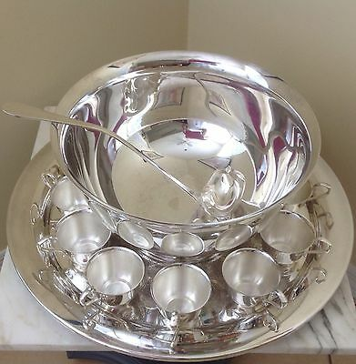 Gorham Vintage Silverplated Punch Bowl Set 12 Cups And Ladle