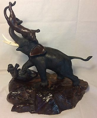 "Meiji Japanese Bronze Elephant Statue ""Attacked By Tigers"" Antique Marked Asian"