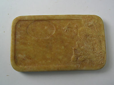 Chinese Hand Carved Inkstone With Dragon Decoration