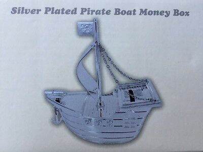 Silver Plated Pirate Boat Money Box Christening Baptism