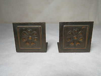 """Vintage Miniature Copper Bookends - Arts and Crafts Movement 2 1/2"""" Tall"""