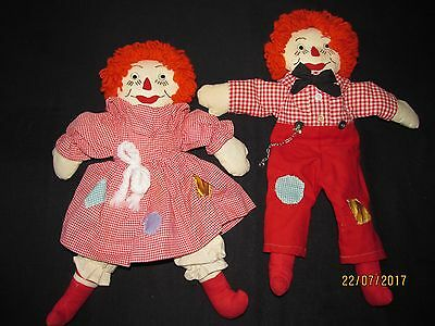 Vintage Raggedy Ann & Andy Cloth Dolls Maker Unknown 18 1/2 inches