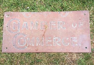 Antique Copper Chamber Of Commerce Sign Plaque