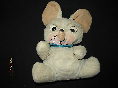 Vintage Stuffed Knickerbocker Toy Mouse 1959 14 inches high Blue Bow Tie