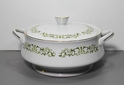 One Bell Flower Round Covered Vegetable Bowl - Fine China of Japan