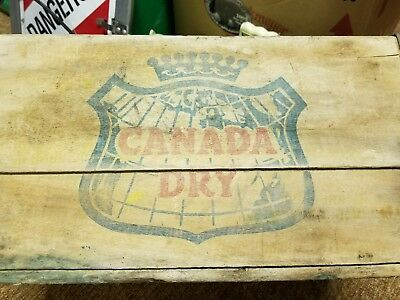 VINTAGE CANADA DRY Ginger Ale Metal Edged WOOD Soda Bottle Box Crate