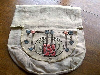 Arts & Crafts Mission Antique Vintage Period Embroidered Linen Bag Stickley Era
