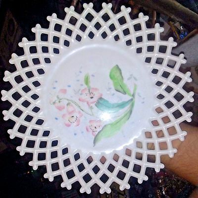 "ANTIQUE WHITE MILK GLASS PLATE 2"" Latticed Border Pink Rose Center 10.5 hangable"