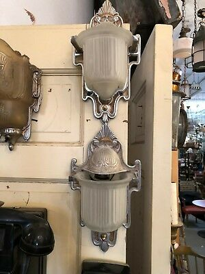 Pair of Cast Aluminum Art Deco Wall Sconces