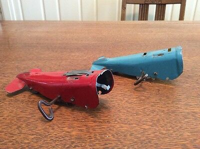 2 Two Clockwork Windup Toy Airplane Chassis For Parts Metal Enamel