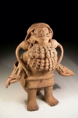 Rare Precolumbian Veracruz Figure Attached To An Offering Bowl