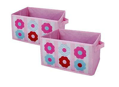 New, Little Bedding by Nojo Collapsible Storage Bins, Tickled Pink, Set of 2