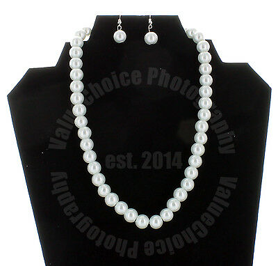 "Faux Pearl Necklace Earring Set White Wedding Bridesmaid Women Girl Long 16"" NEW"