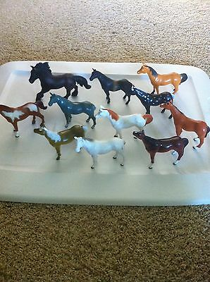 Lot of 11 HORSES, stablemates, dated 1994,+ 1 Schleich, great variety