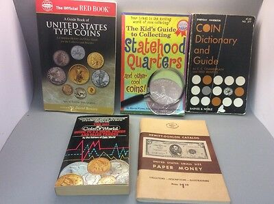 5 Coin Collecting Books, United States Type Coins Bowers, Hewitt Donlon Paper