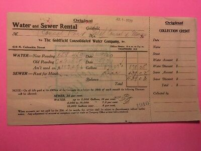 1909 Goldfield Nevada Water Rental Consolidated Mines