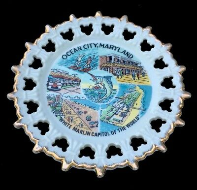 "Travel Souvenir Collector Plate ~ Ocean City, Maryland 8¼"" Vintage USA States"