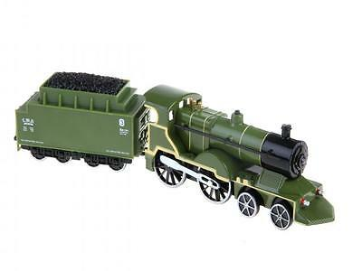 Green Steam Engine Train with Coal Truck Lights & Sounds Die-cast Children's Toy