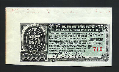 $25 Dollars Eastern Milling & Export USA Gold Coin Bond Coupon 1930 Paper Note