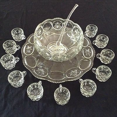 Tiffin Franciscan Moon And Star Punch Bowl, 11 Cups, Underplate, And Ladle