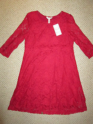 NEW Ma Cherie Maternity red lace 3/4 sleeve holiday cocktail dress size Large