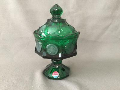 Fostoria Coin Glass Candy Dish Emerald Green Ex Unused Footed Compote