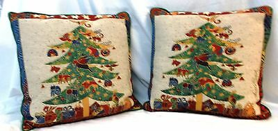 """Laurel Burch Signature Christmas Tree Tapestry Pillow - Lot of 2 17"""" by 17"""""""