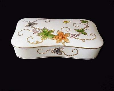 Antique Porcelain Raised Gold Floral & Butterfly Enamel Trinket Dresser Box