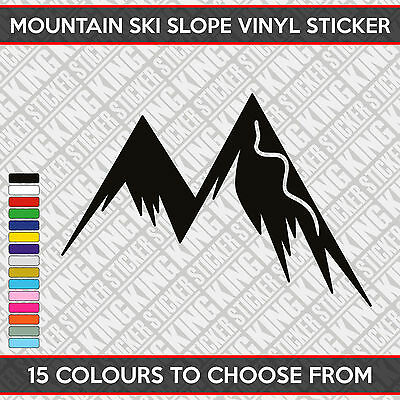 Mountain Ski Slope Vinyl Decal Sticker Car Bumper Window 15 Colours 16cm x 11cm