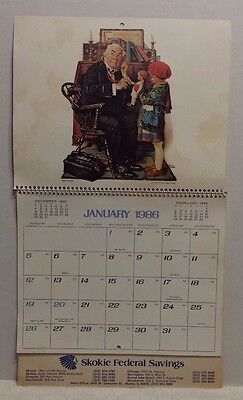 Vintage 1986 Skokie Federal Savings Wall Calendar with Norman Rockwell pictures