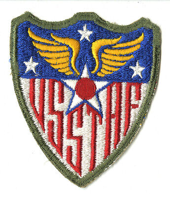 Wwii Original Us Strategic Air Forces White Back Patch Usstaf Europe