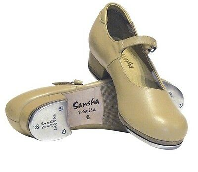 NIB Sansha T-Sophia Sofiette Merry Jane Tap Dance Shoe, Adult/Child, TAN