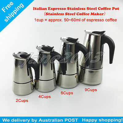 Stainless Steel Coffee Maker 2Cups ~ 9Cups Espresso Italian Pot Percolator Stove