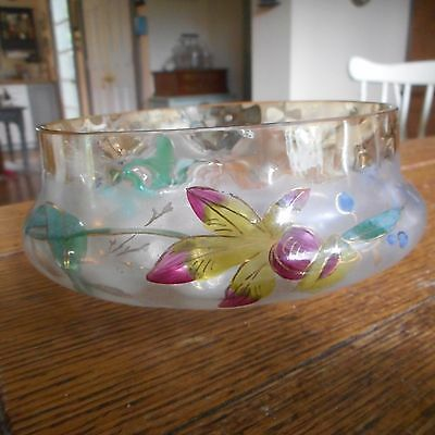 Vintage Pomona Cornflower Bowl w/ Enamel Flowers & Inverted Thumbprint Pattern A