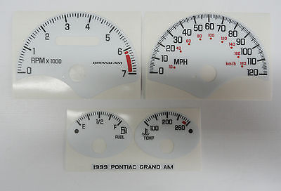 99 Grand Am White Face Gauge Cluster Overlay