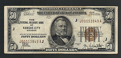 $50 Dollars 1929 National Currency KANSAS CITY MO USA Federal Reserve Bank Note