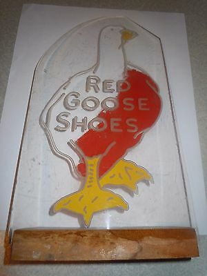 Vintage Red Goose Shoes Advertising Sign On Wooden Stand