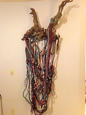 Vtg Artisan Large Massive Fiber Art Wall Sculpture Woven Braided Driftwood