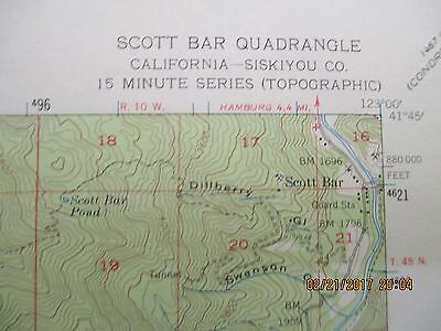 "Scott Bar Cal. Quadrangle US Geological Topographic Color Map 18"" x 22"" - 1955"