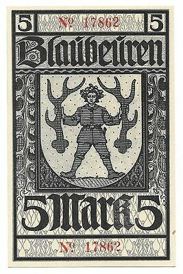 **1919 BLAUBEUREN Germany Banknote- STAG ANTLERS ~ 5 Mark German Notgeld UNC