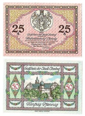 **1921 OHRDRUF Germany Banknote- BEAUTIFUL ~ Matching Set German Notgeld UNC