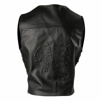 Men's Black EMBOSSED Leather INDIAN MOTORCYCLE SIDE LACE Vest S - 10XL