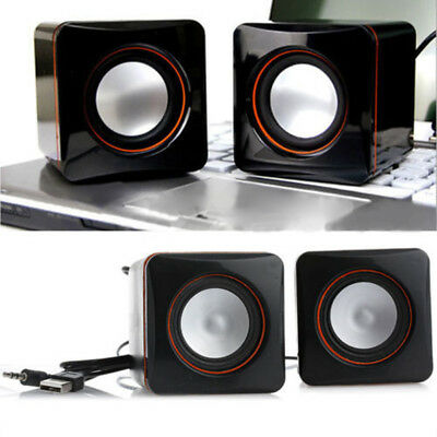 Black USB Mini Speaker Audio Music Player for iPhone iPad MP3 Laptop PC Classic