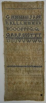 "Very nice Needlework Sampler. Alpha & Numeric, signed, 16 ½"" x 6 ¾"". c. early 19"