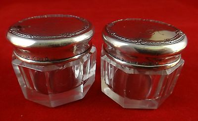 "Pair Sterling Silver Blackinton Cut Crystal Jars, c. 1910. 1 ¼"" t. 1 ½"" dia."